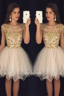 Robe de bal naturel brillant bref textile en tulle encolure ronde
