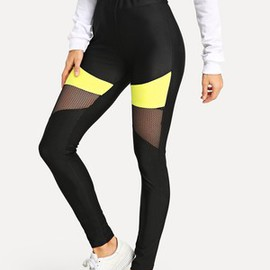 Legging color-block haute qualité en tulle