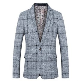 Blazers costumes blazers gris mode plaid hommes