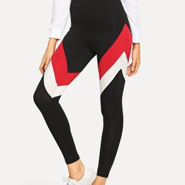 Legging moulant gracieux color-block