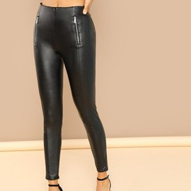 Legging en similicuir brillant zippé