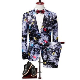 Costumes de mode vacances porter impression hommes hommes slim fit