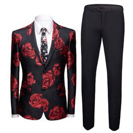 Smoking 2 pièces costume ensemble rose slim fit hommes