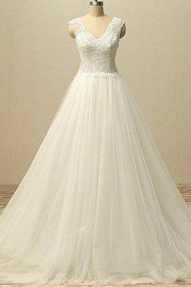 Robe de mariée naturel de traîne courte décolleté dans le dos a-ligne en tulle