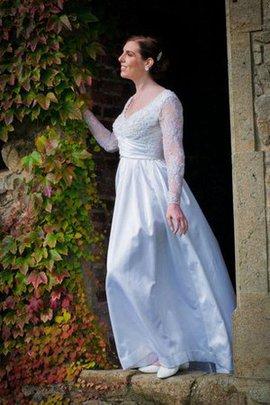 Robe de mariée textile taffetas v encolure avec manche longue appliques jusqu'au sol