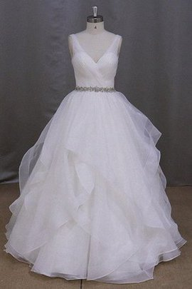 Robe de mariée cordon v encolure avec perle de traîne courte manche nulle