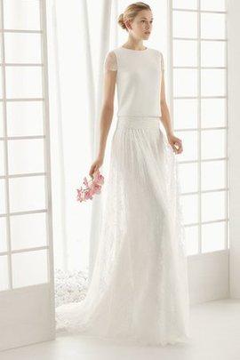 Robe de mariée luxueux avec manche courte a-ligne en satin avec bouton