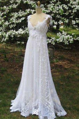 Robe de mariée nature appliques avec décoration dentelle avec sans manches ligne a