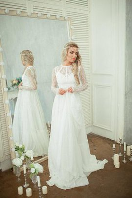 Robe de mariée plissé moderne romantique delicat avec manche longue