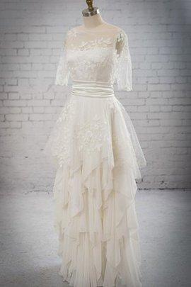 Robe de mariée décontracté chic ceinture en étoffe a-ligne appliques