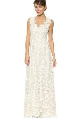 Robe de mariée longue avec sans manches en dentelle fermeutre eclair v encolure