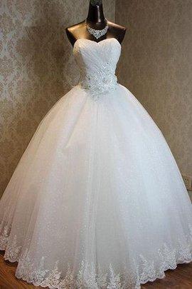 Robe de mariée naturel col en forme de cœur manche nulle d'épaule asymétrique a-ligne