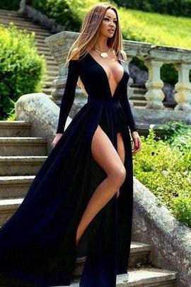 Robe de soirée v encolure de traîne courte avec manche longue magnifique de princesse
