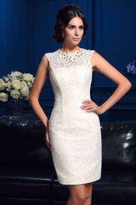 Robe mère de mariée courte naturel de fourreau manche nulle avec zip