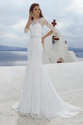 Robe de mariée plissé romantique discrete de traîne moyenne avec manche 3/4
