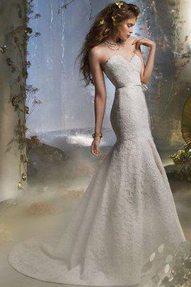 Robe de mariée naturel de traîne courte sans dos en dentelle avec ruban