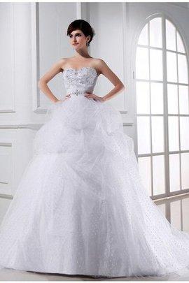 Robe de mariée manche nulle de mode de bal avec perle de col en cœur en satin