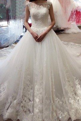 Robe de mariée cordon de traîne moyenne avec sans manches col en bateau en tulle