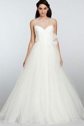 Robe de mariée textile en tulle avec perle ceinture au niveau de cou de traîne courte