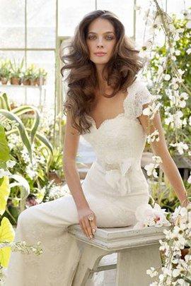 Robe de mariée sexy naturel de col entaillé en forme avec ruban