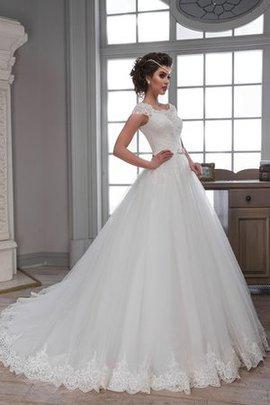 Robe de mariée naturel cordon de mode de bal en tulle de traîne mi-longue