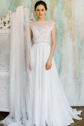 Robe de mariée nature textile en tulle avec chiffon avec manche courte v col profonde