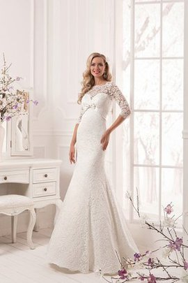 Robe de mariée romantique en dentelle en forme longueur au niveau de sol avec ruban