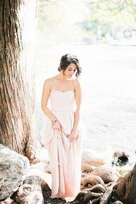 Robe de mariée avec gradins manche nulle en plage avec zip avec perle