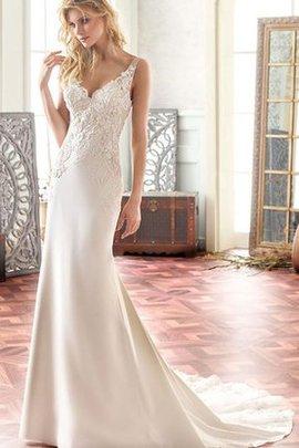 Robe de mariée delicat femme branché de col en v gaine en chiffon