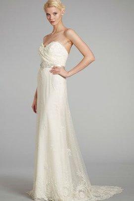Robe de mariée bustier de plissé ceinture de fourreau de traîne courte dos nu