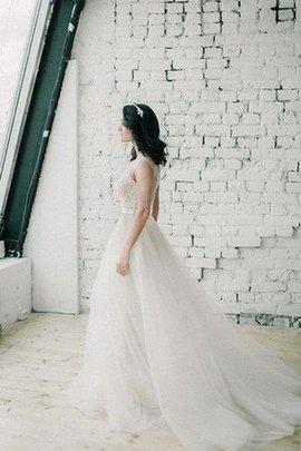 Robe de mariée romantique de traîne courte avec décoration dentelle appliques en plage
