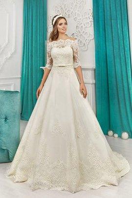 Robe de mariée en dentelle avec nœud d'epaule ajourée jusqu'au sol a-ligne