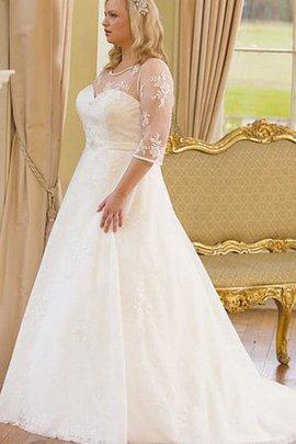 Robe de mariée romantique plissage boutonné en satin en 3/4 manche