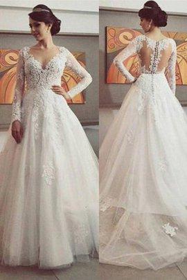Robe de mariée naturel de mode de bal avec manche longue v encolure de traîne moyenne