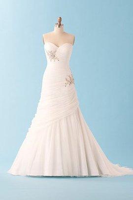Robe de mariée solennelle fourreau avec bijoux en plein air de traîne courte avec perle