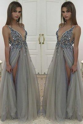 Robe de soirée longueur au ras du sol de princesse avec sans manches ligne a avec perle