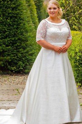 Robe de mariée delicat en 1/2 manche encolure ronde avec perle avec nœud à boucles