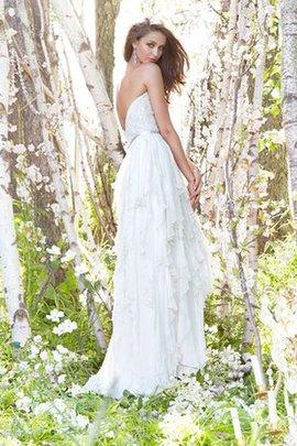 Robe de mariée naturel de col en cœur de traîne courte ceinture avec ruban
