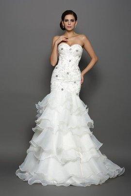 Robe de mariée longue naturel col en forme de cœur manche nulle de sirène