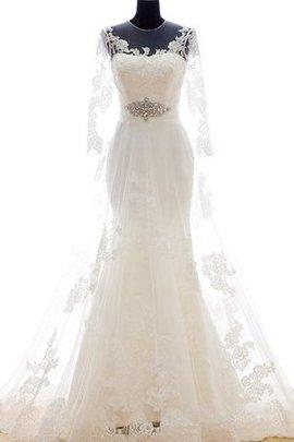 Robe de mariée brillant ligne a trou serre en organza en dentelle