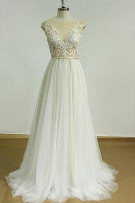 Robe de mariée plissé avec manche courte de traîne courte v col profonde en dentelle