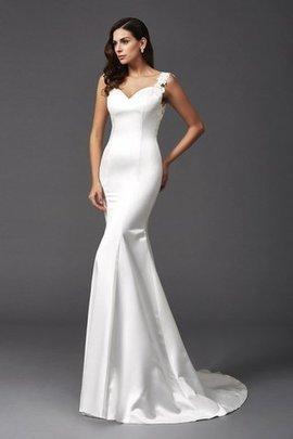 Robe de mariée naturel de traîne courte avec perle manche nulle larges bretelles