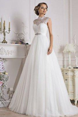Robe de mariée simple naturel vintage elevé ligne a