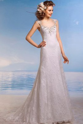Robe de mariée longue de traîne moyenne a plage en dentelle trou de serrure