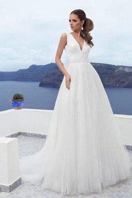 Robe de mariée jusqu'au sol textile en tulle v encolure avec ruban manche nulle