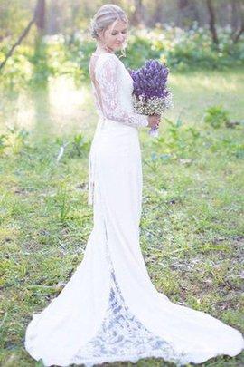 Robe de mariée sans dos avec chiffon v encolure en dentelle encolure ronde