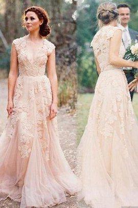 Robe de mariée naturel romantique en tout plein air brodé fermeutre eclair