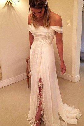 Robe de mariée naturel de princesse de lotus avec chiffon manche nulle
