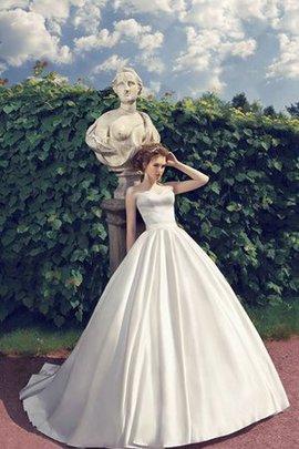 Robe de mariée ligne a cordon manche nulle de traîne moyenne longueur au niveau de sol
