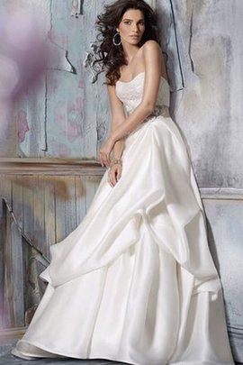 Robe de mariée naturel avec décoration dentelle manche nulle avec fleurs en satin